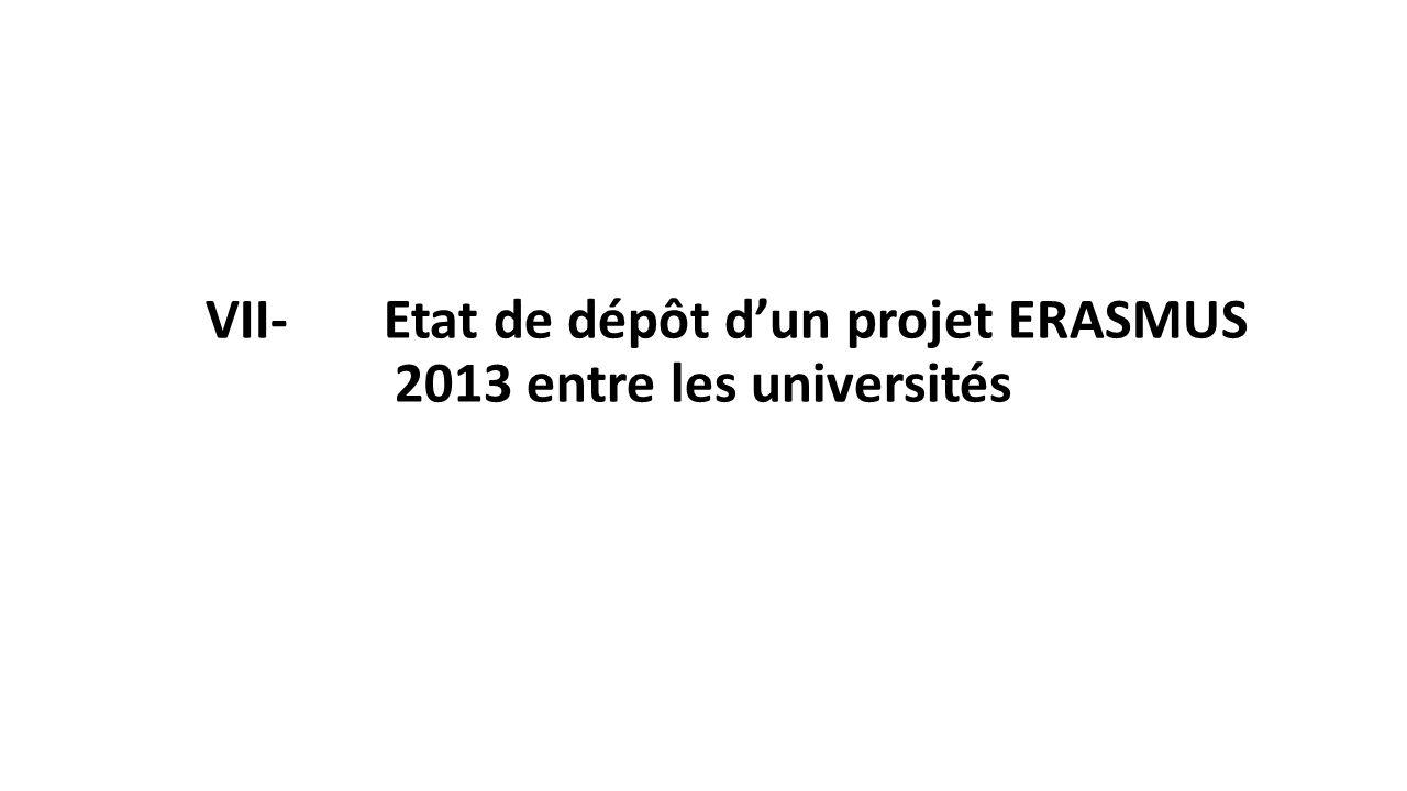 VII- Etat de dépôt d'un projet ERASMUS 2013 entre les universités