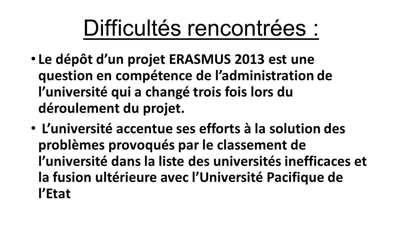 Difficultés rencontrées : Le dépôt d'un projet ERASMUS 2013 est une question en compétence de l'administration de l'université qui a changé trois fois