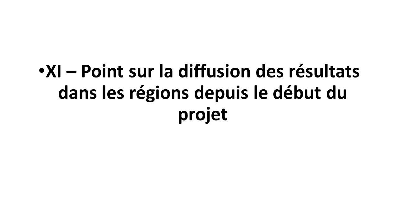 XI – Point sur la diffusion des résultats dans les régions depuis le début du projet