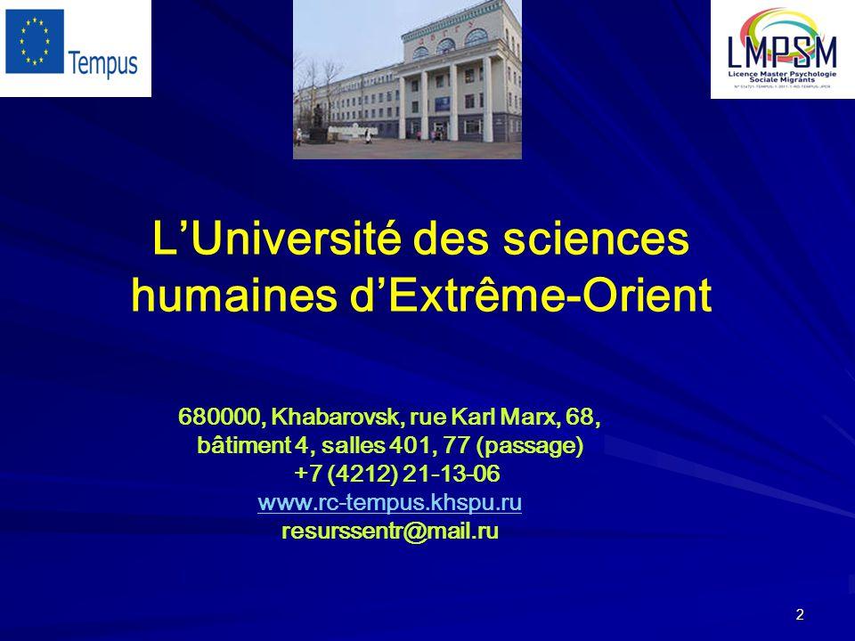 2 680000, Khabarovsk, rue Karl Marx, 68, bâtiment 4, salles 401, 77 (passage) +7 (4212) 21-13-06 www.rc-tempus.khspu.ru resurssentr@mail.ru L'Université des sciences humaines d'Extrême-Orient