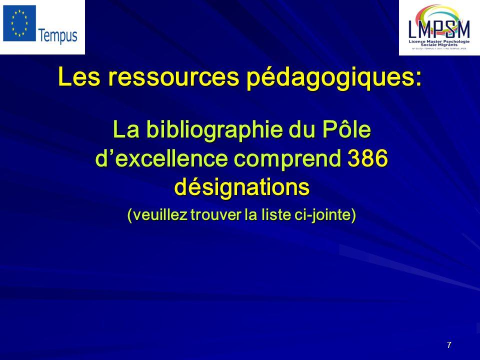 7 Les ressources pédagogiques: La bibliographie du Pôle d'excellence comprend 386 désignations (veuillez trouver la liste ci-jointe)