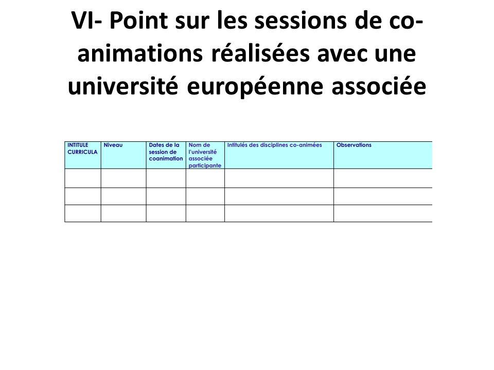 VI- Point sur les sessions de co- animations réalisées avec une université européenne associée