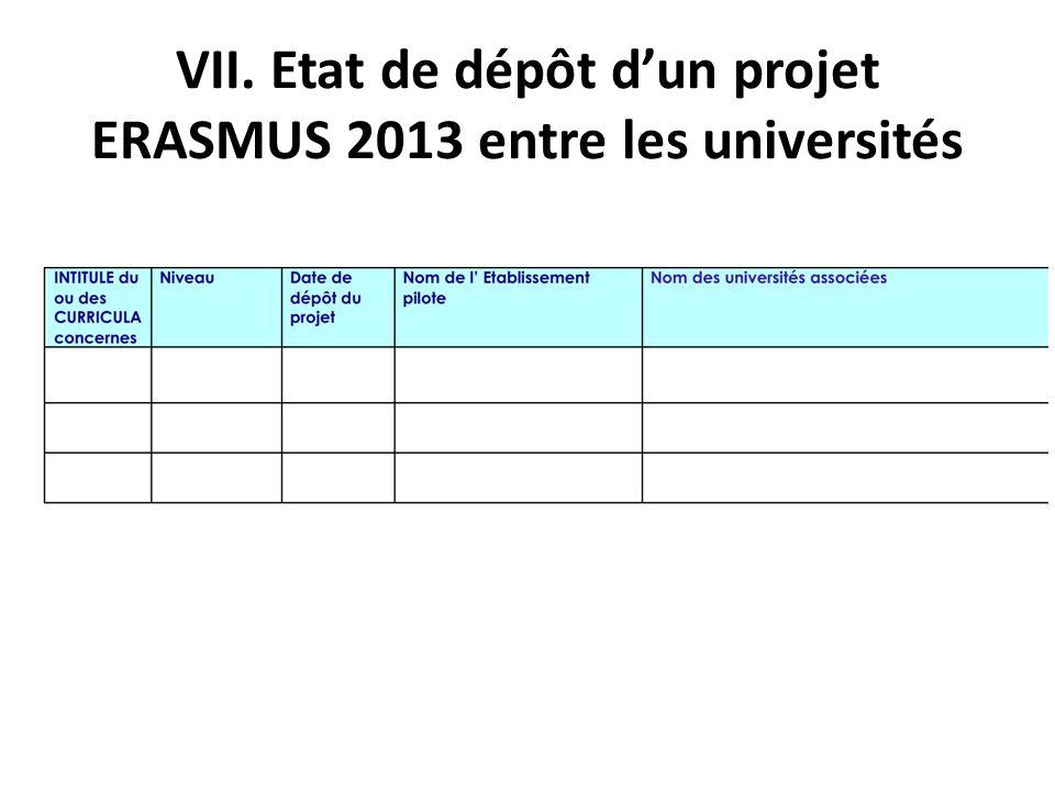 VII. Etat de dépôt d'un projet ERASMUS 2013 entre les universités