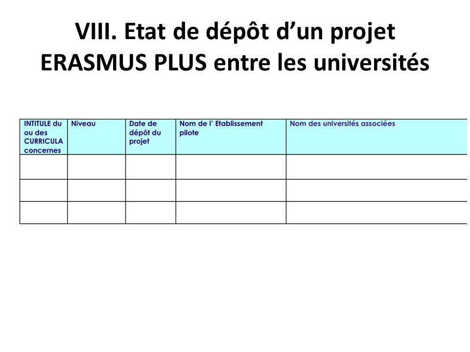 VIII. Etat de dépôt d'un projet ERASMUS PLUS entre les universités