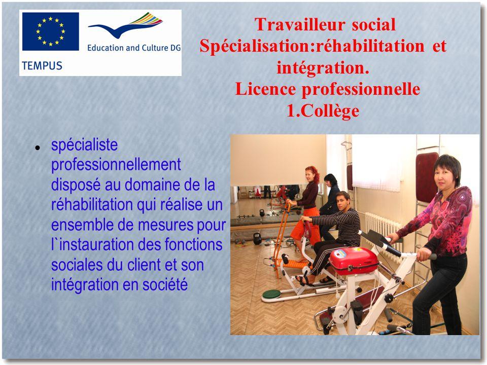 Travailleur social Spécialisation:réhabilitation et intégration.