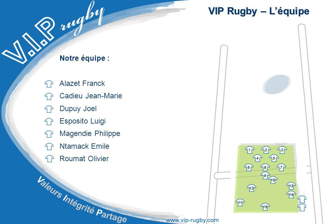 VIP Rugby – L'équipe Notre équipe : Alazet Franck Cadieu Jean-Marie Dupuy Joel Esposito Luigi Magendie Philippe Ntamack Emile Roumat Olivier