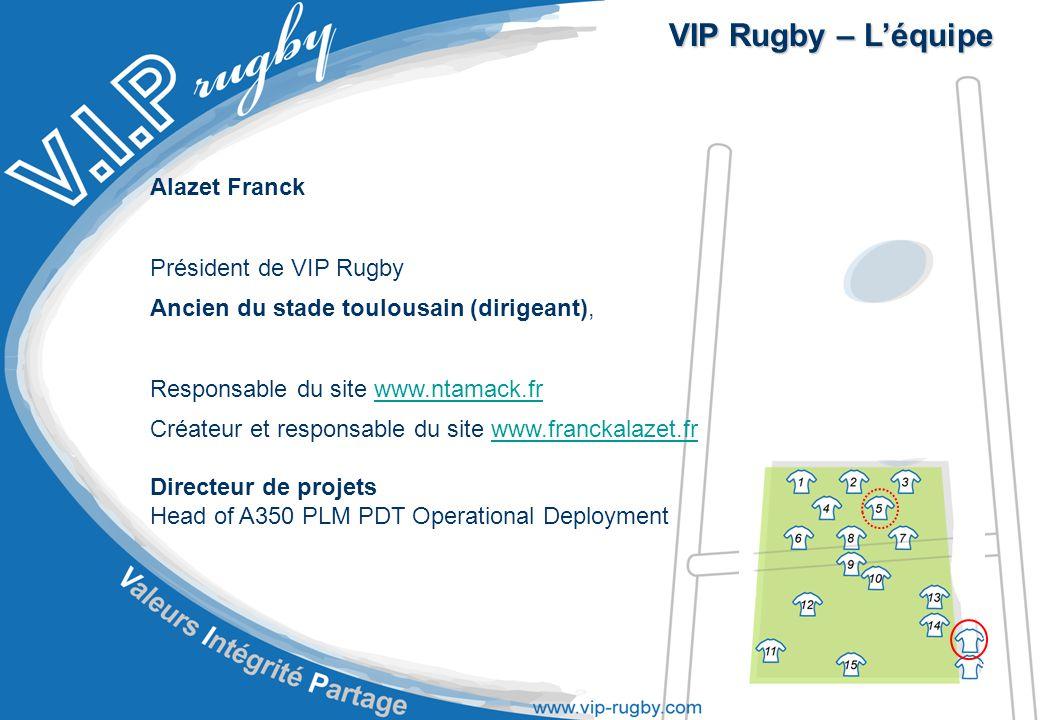 VIP Rugby – L'équipe Alazet Franck Président de VIP Rugby Ancien du stade toulousain (dirigeant), Responsable du site www.ntamack.frwww.ntamack.fr Créateur et responsable du site www.franckalazet.frwww.franckalazet.fr Directeur de projets Head of A350 PLM PDT Operational Deployment