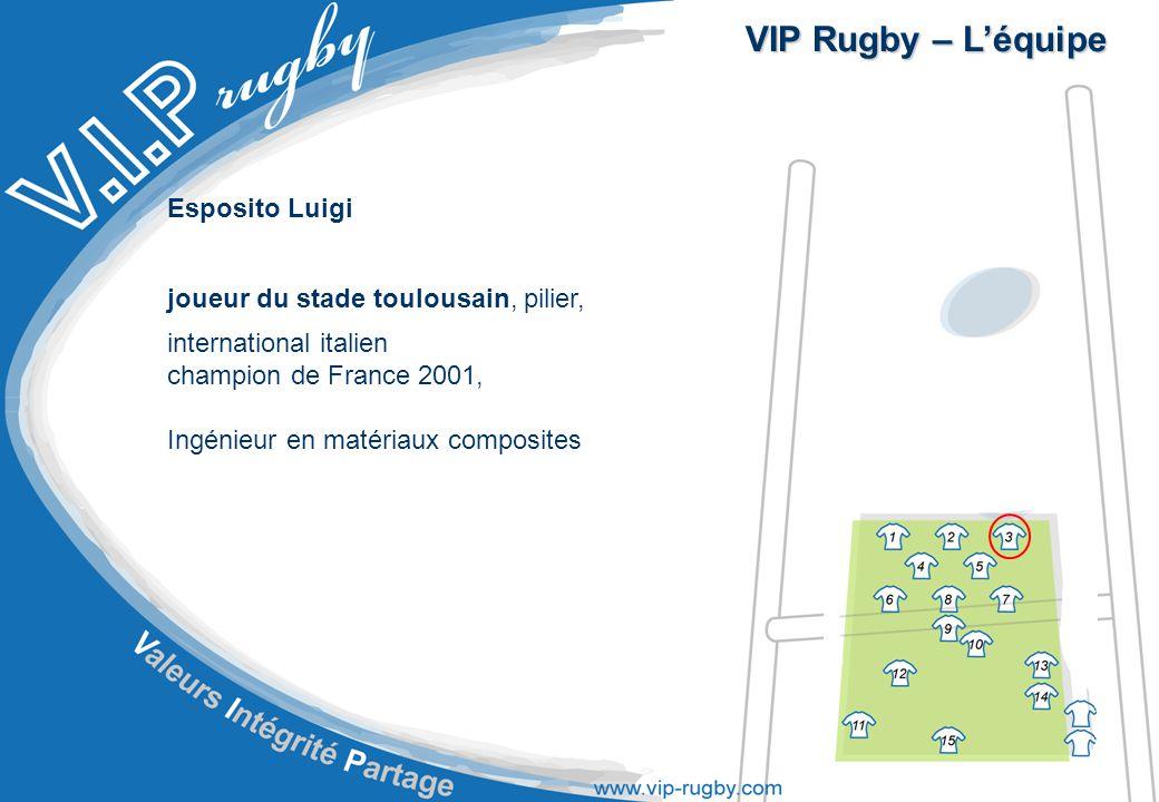 VIP Rugby – L'équipe Esposito Luigi joueur du stade toulousain, pilier, international italien champion de France 2001, Ingénieur en matériaux composites
