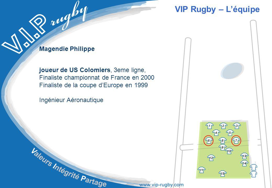 Magendie Philippe joueur de US Colomiers, 3eme ligne, Finaliste championnat de France en 2000 Finaliste de la coupe d'Europe en 1999 Ingénieur Aéronautique VIP Rugby – L'équipe