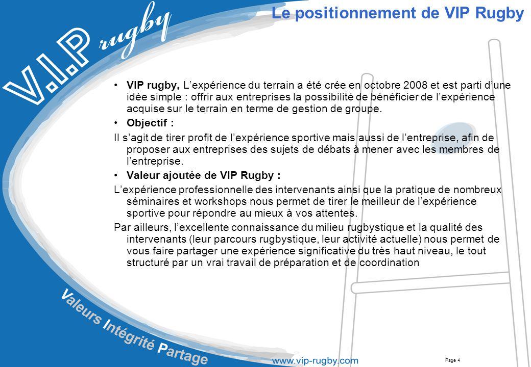 Page 5 Le positionnement de VIP Rugby –Objectifs –Valeur ajoutée de VIP Rugby Le catalogue –L'équipe –Services –Manière de travailler Synthese