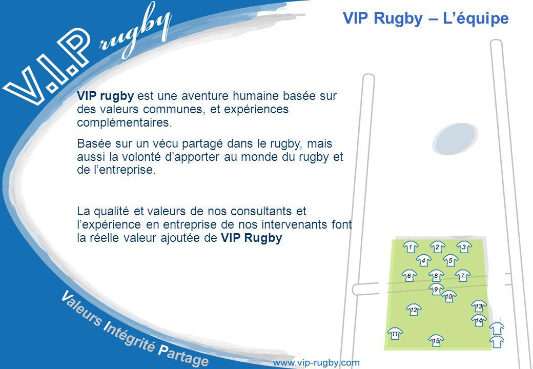 Notre équipe : Alazet Franck Cadieu Jean-Marie Dupuy Joel Esposito Luigi Magendie Philippe Ntamack Emile Roumat Olivier VIP Rugby – L'équipe