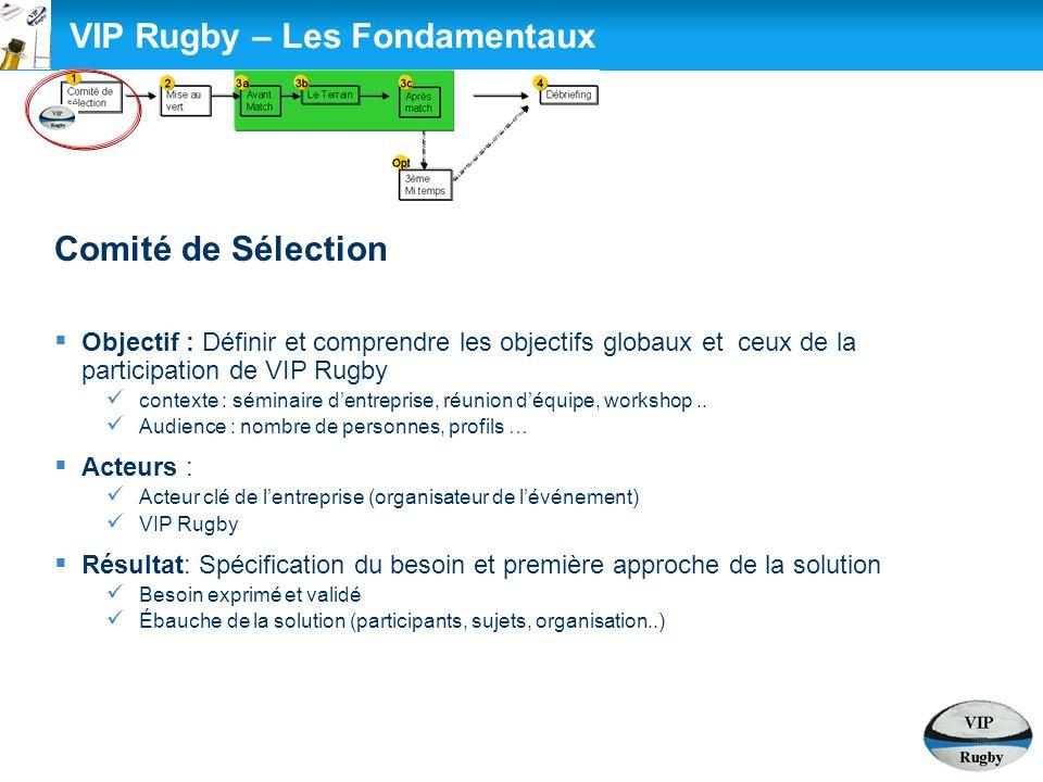 VIP Rugby – Les Fondamentaux Comité de Sélection  Objectif : Définir et comprendre les objectifs globaux et ceux de la participation de VIP Rugby con