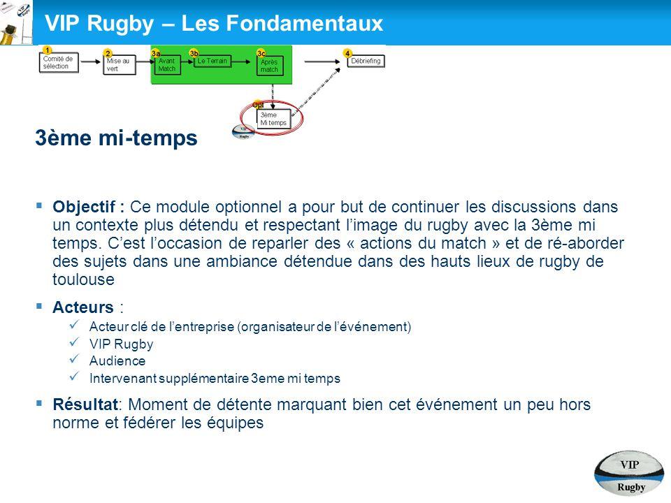VIP Rugby – Les Fondamentaux 3ème mi-temps  Objectif : Ce module optionnel a pour but de continuer les discussions dans un contexte plus détendu et r