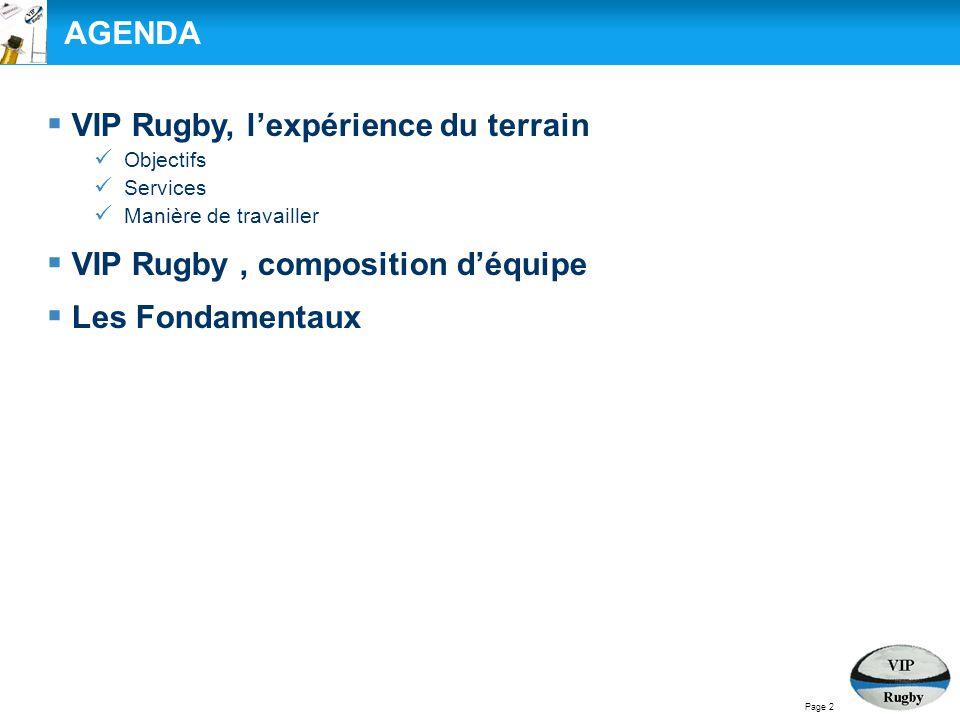 Page 2 AGENDA  VIP Rugby, l'expérience du terrain Objectifs Services Manière de travailler  VIP Rugby, composition d'équipe  Les Fondamentaux