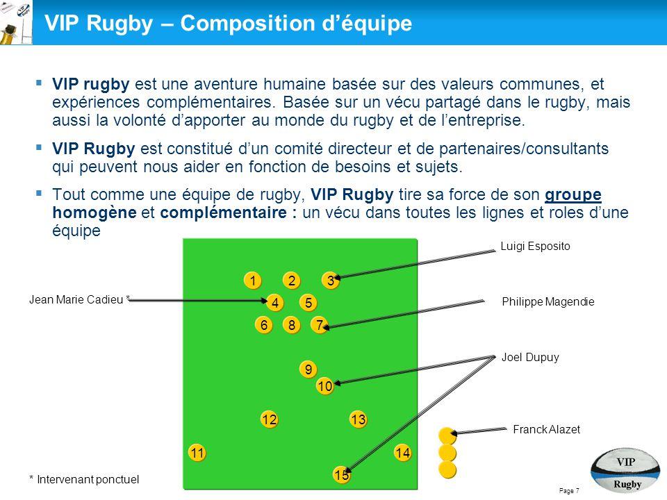  VIP rugby est une aventure humaine basée sur des valeurs communes, et expériences complémentaires. Basée sur un vécu partagé dans le rugby, mais aus