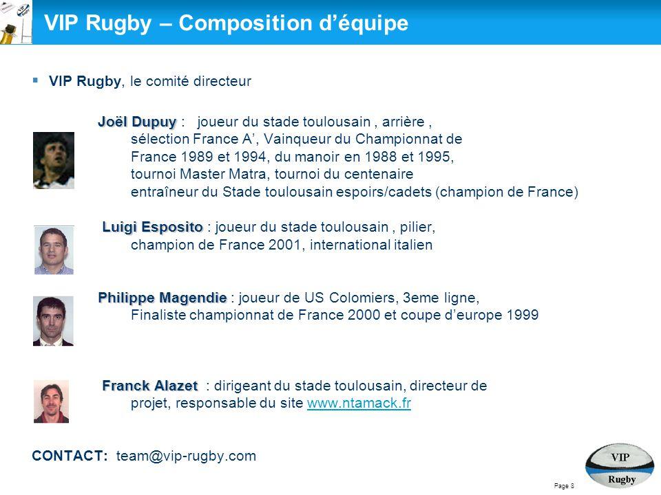  VIP Rugby, le comité directeur Joël Dupuy Joël Dupuy : joueur du stade toulousain, arrière, sélection France A', Vainqueur du Championnat de France