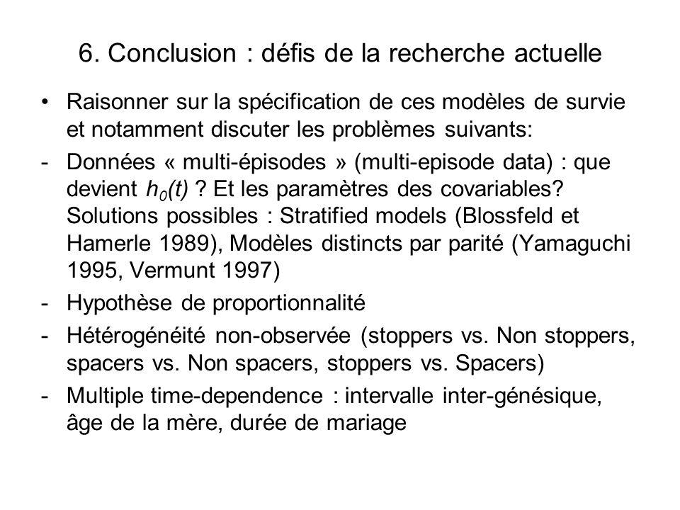 6. Conclusion : défis de la recherche actuelle Raisonner sur la spécification de ces modèles de survie et notamment discuter les problèmes suivants: -