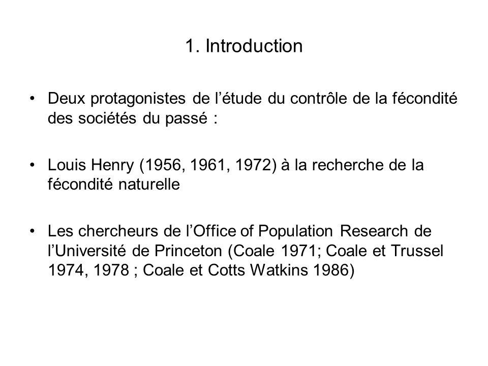 1. Introduction Deux protagonistes de l'étude du contrôle de la fécondité des sociétés du passé : Louis Henry (1956, 1961, 1972) à la recherche de la