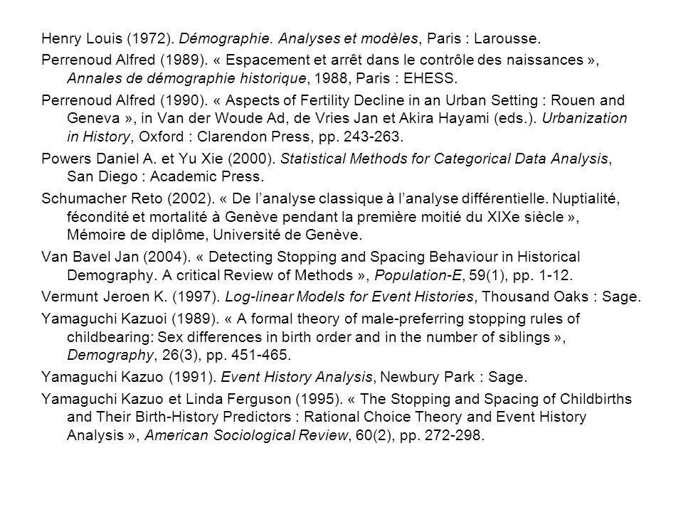 Henry Louis (1972). Démographie. Analyses et modèles, Paris : Larousse. Perrenoud Alfred (1989). « Espacement et arrêt dans le contrôle des naissances