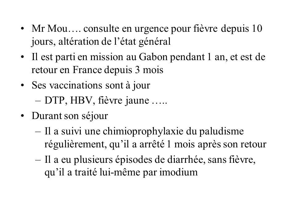 Mr Mou…. consulte en urgence pour fièvre depuis 10 jours, altération de l'état général Il est parti en mission au Gabon pendant 1 an, et est de retour