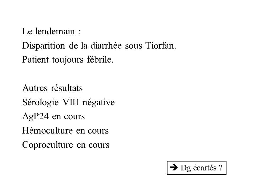 Le lendemain : Disparition de la diarrhée sous Tiorfan. Patient toujours fébrile. Autres résultats Sérologie VIH négative AgP24 en cours Hémoculture e