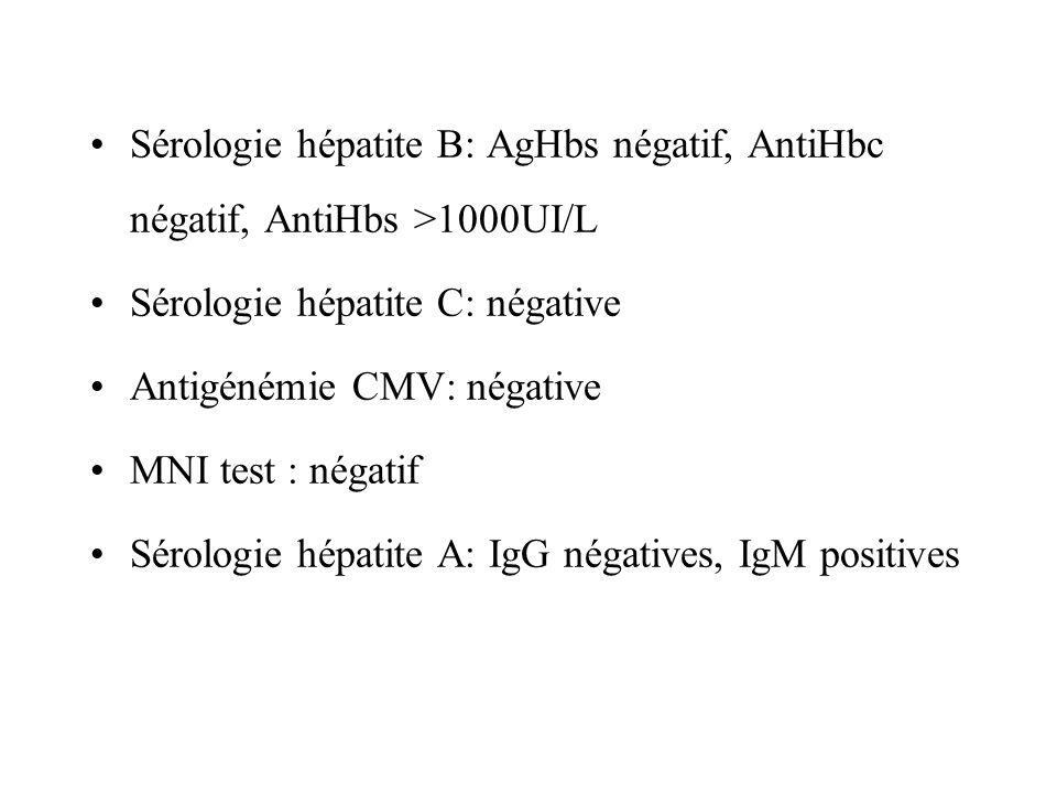Sérologie hépatite B: AgHbs négatif, AntiHbc négatif, AntiHbs >1000UI/L Sérologie hépatite C: négative Antigénémie CMV: négative MNI test : négatif Sé