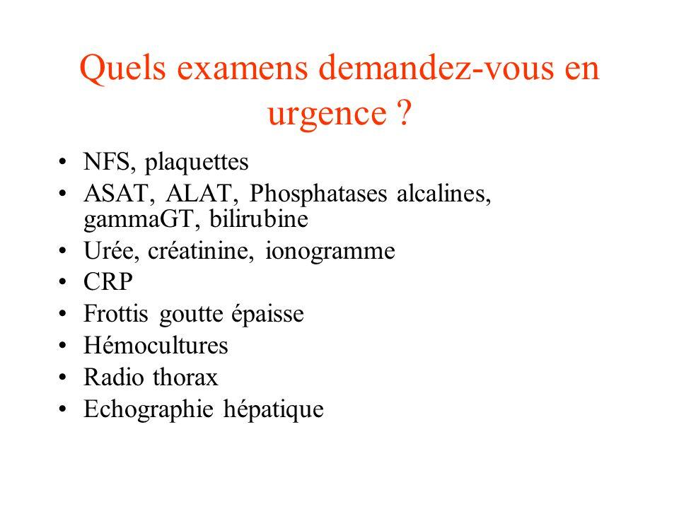 NFS, plaquettes ASAT, ALAT, Phosphatases alcalines, gammaGT, bilirubine Urée, créatinine, ionogramme CRP Frottis goutte épaisse Hémocultures Radio tho