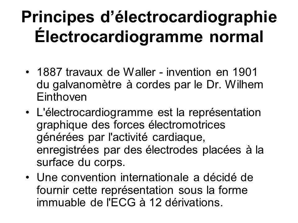 Principes d'électrocardiographie Électrocardiogramme normal 1887 travaux de Waller - invention en 1901 du galvanomètre à cordes par le Dr. Wilhem Eint