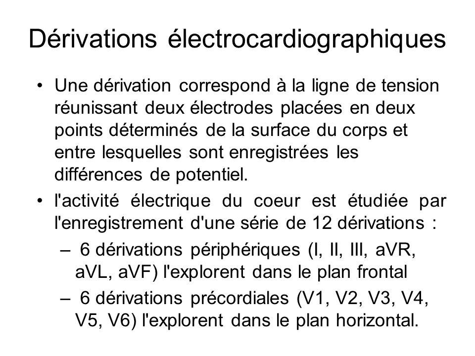 Dérivations électrocardiographiques Une dérivation correspond à la ligne de tension réunissant deux électrodes placées en deux points déterminés de la