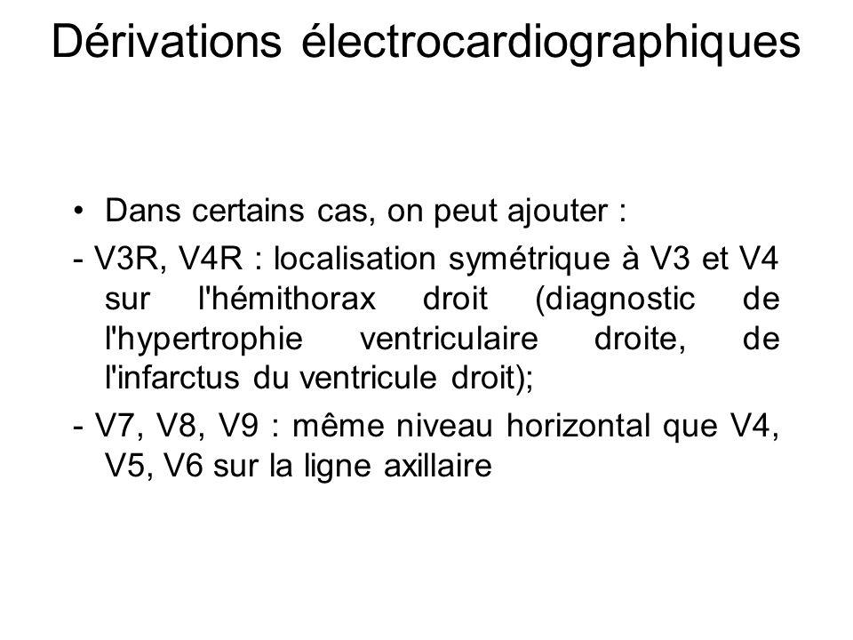 Dans certains cas, on peut ajouter : - V3R, V4R : localisation symétrique à V3 et V4 sur l hémithorax droit (diagnostic de l hypertrophie ventriculaire droite, de l infarctus du ventricule droit); - V7, V8, V9 : même niveau horizontal que V4, V5, V6 sur la ligne axillaire Dérivations électrocardiographiques