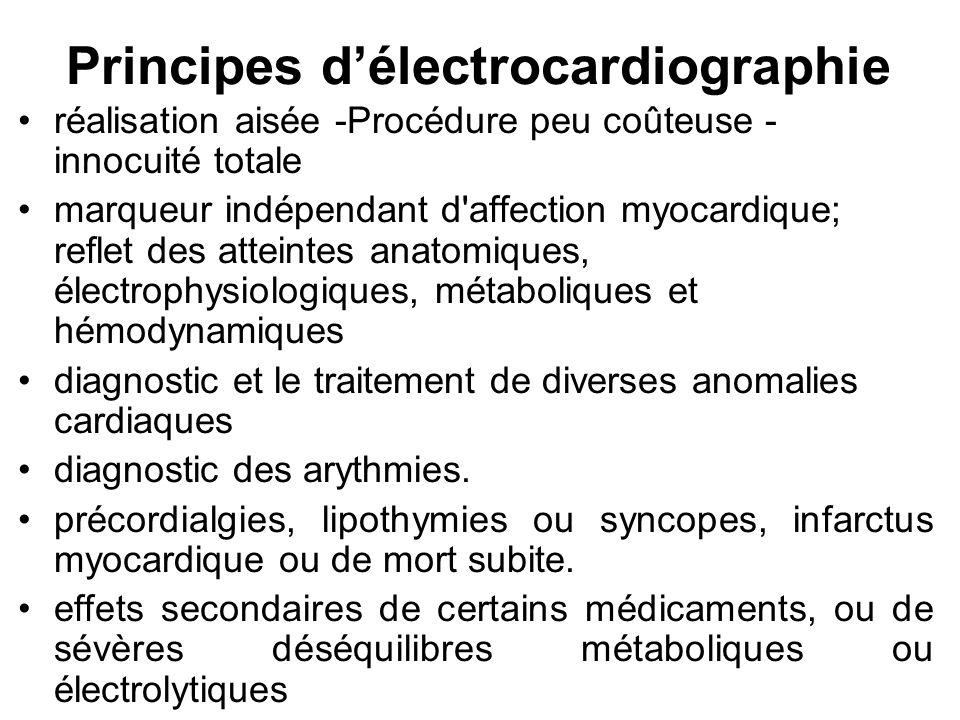 Dérivations électrocardiographiques Une dérivation correspond à la ligne de tension réunissant deux électrodes placées en deux points déterminés de la surface du corps et entre lesquelles sont enregistrées les différences de potentiel.