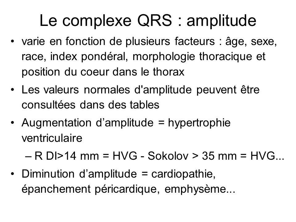 varie en fonction de plusieurs facteurs : âge, sexe, race, index pondéral, morphologie thoracique et position du coeur dans le thorax Les valeurs normales d amplitude peuvent être consultées dans des tables Augmentation d'amplitude = hypertrophie ventriculaire –R DI>14 mm = HVG - Sokolov > 35 mm = HVG...