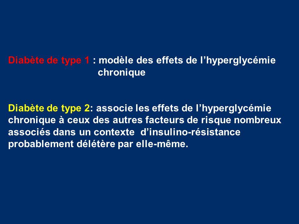 Diabète de type 1 : modèle des effets de l'hyperglycémie chronique Diabète de type 2: associe les effets de l'hyperglycémie chronique à ceux des autre