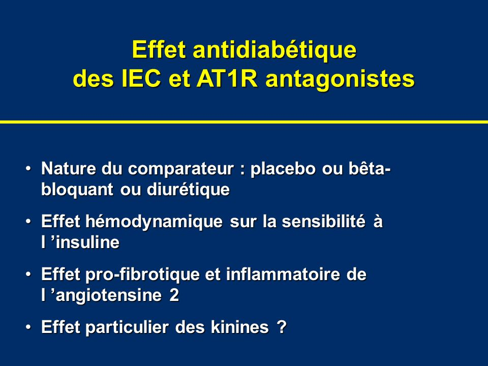 Effet antidiabétique des IEC et AT1R antagonistes Nature du comparateur : placebo ou bêta- bloquant ou diurétiqueNature du comparateur : placebo ou bê