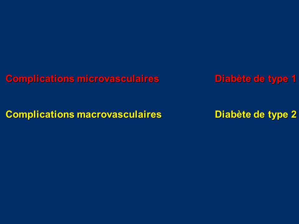 Complications microvasculairesDiabète de type 1 Complications macrovasculairesDiabète de type 2