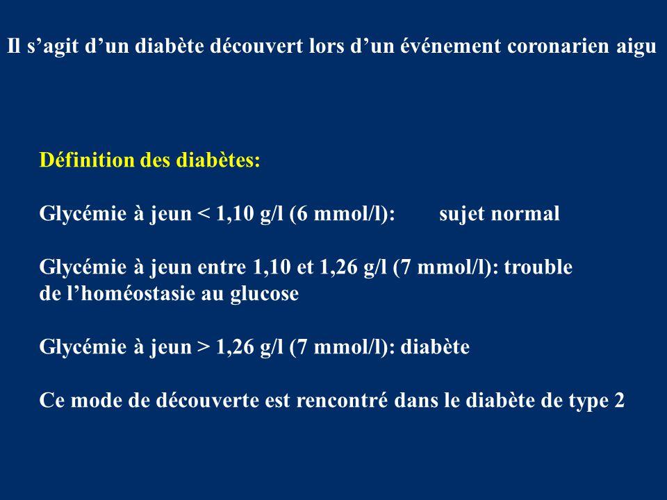 Il s'agit d'un diabète découvert lors d'un événement coronarien aigu Définition des diabètes: Glycémie à jeun < 1,10 g/l (6 mmol/l):sujet normal Glycé