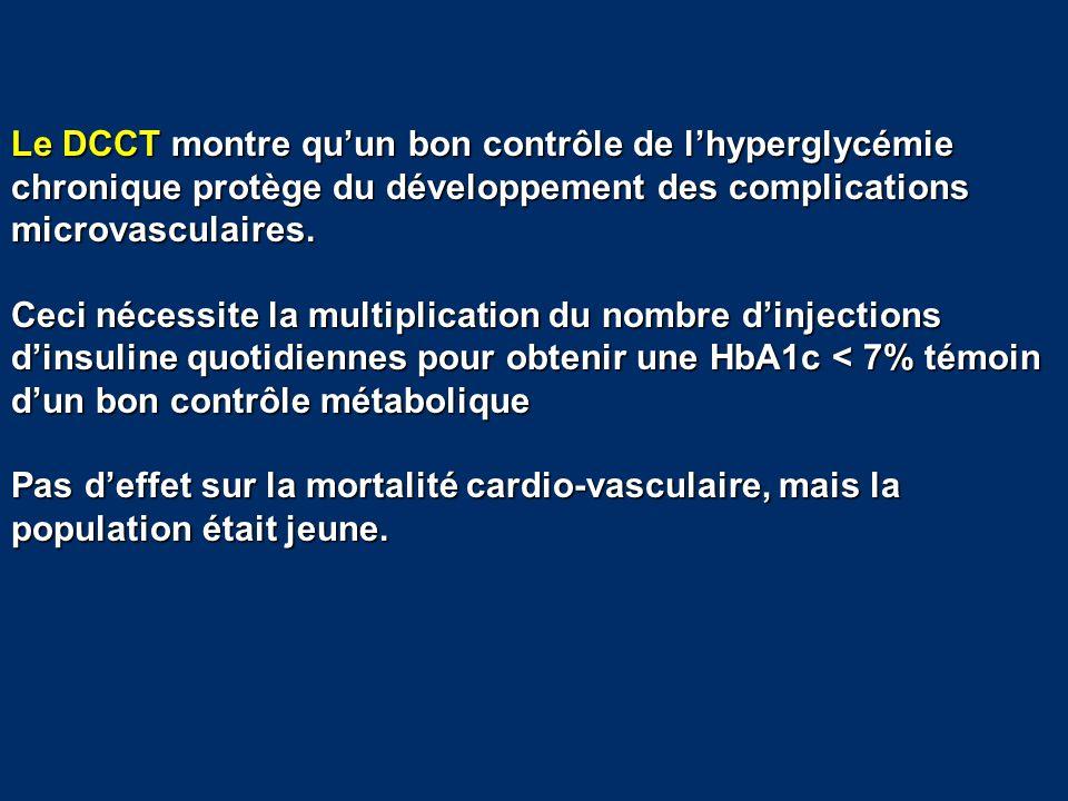 Le DCCT montre qu'un bon contrôle de l'hyperglycémie chronique protège du développement des complications microvasculaires. Ceci nécessite la multipli