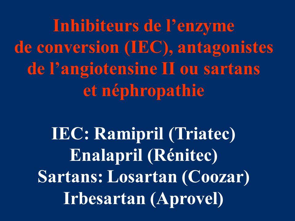 Inhibiteurs de l'enzyme de conversion (IEC), antagonistes de l'angiotensine II ou sartans et néphropathie IEC: Ramipril (Triatec) Enalapril (Rénitec)