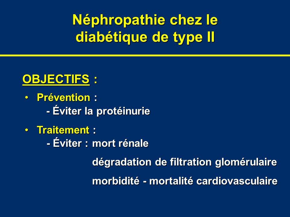 Néphropathie chez le diabétique de type II OBJECTIFS : Prévention :Prévention : - Éviter la protéinurie Traitement :Traitement : - Éviter :mort rénale
