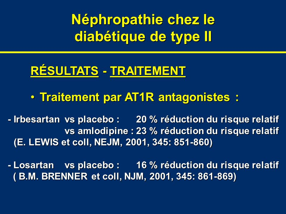 Néphropathie chez le diabétique de type II RÉSULTATS - TRAITEMENT Traitement par AT1R antagonistes :Traitement par AT1R antagonistes : -Irbesartanvs placebo :20 % réduction du risque relatif vs amlodipine :23 % réduction du risque relatif vs amlodipine :23 % réduction du risque relatif (E.
