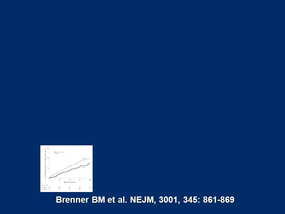 Brenner BM et al. NEJM, 3001, 345: 861-869