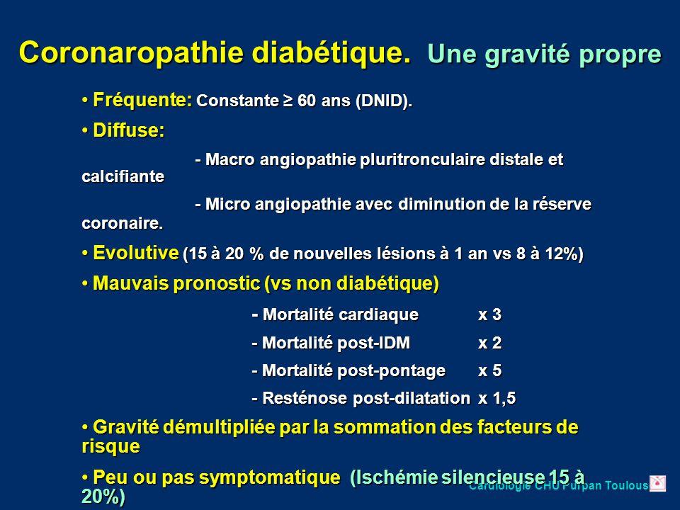 Cardiologie CHU Purpan Toulouse Fréquente: Constante ≥ 60 ans (DNID). Fréquente: Constante ≥ 60 ans (DNID). Diffuse: Diffuse: - Macro angiopathie plur