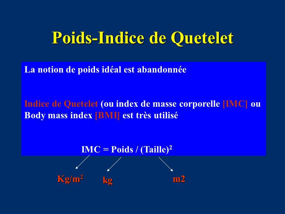 Poids-Indice de Quetelet La notion de poids idéal est abandonnée Indice de Quetelet (ou index de masse corporelle [IMC] ou Body mass index [BMI] est t