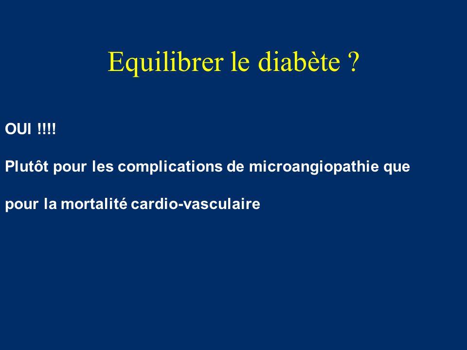 Equilibrer le diabète ? OUI !!!! Plutôt pour les complications de microangiopathie que pour la mortalité cardio-vasculaire