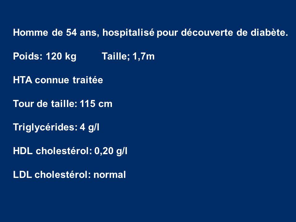 Homme de 54 ans, hospitalisé pour découverte de diabète. Poids: 120 kgTaille; 1,7m HTA connue traitée Tour de taille: 115 cm Triglycérides: 4 g/l HDL