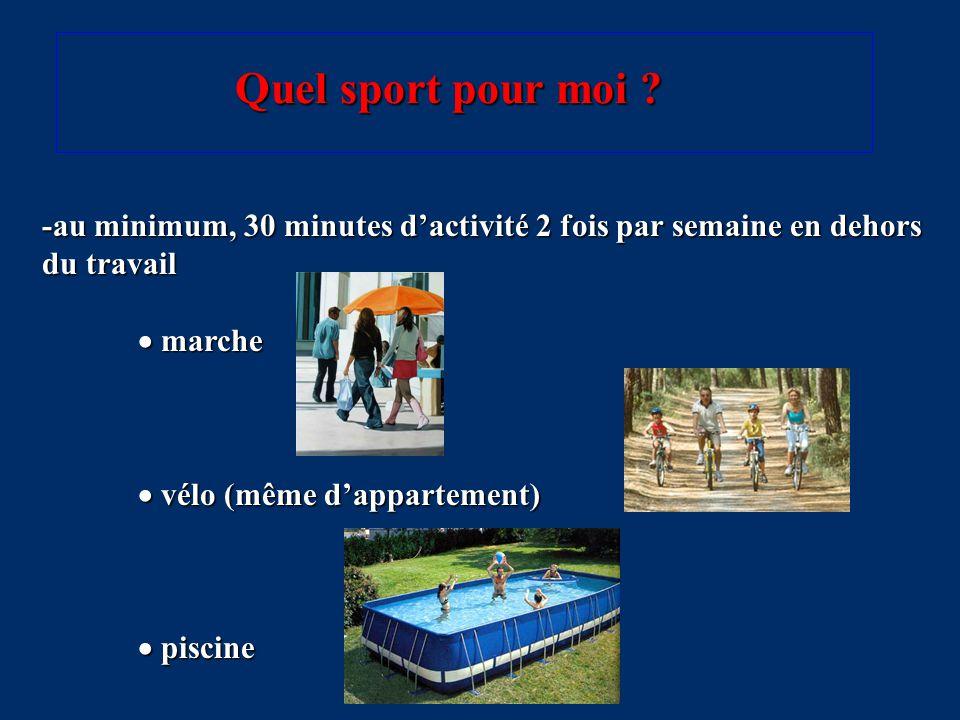 -au minimum, 30 minutes d'activité 2 fois par semaine en dehors du travail  marche  vélo (même d'appartement)  piscine Quel sport pour moi ?