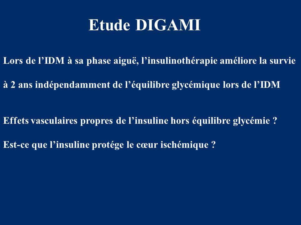 Etude DIGAMI Lors de l'IDM à sa phase aiguë, l'insulinothérapie améliore la survie à 2 ans indépendamment de l'équilibre glycémique lors de l'IDM Effe