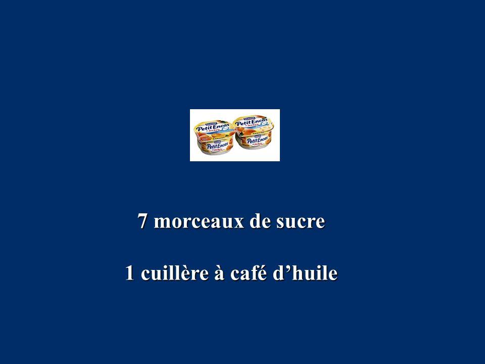 7 morceaux de sucre 1 cuillère à café d'huile