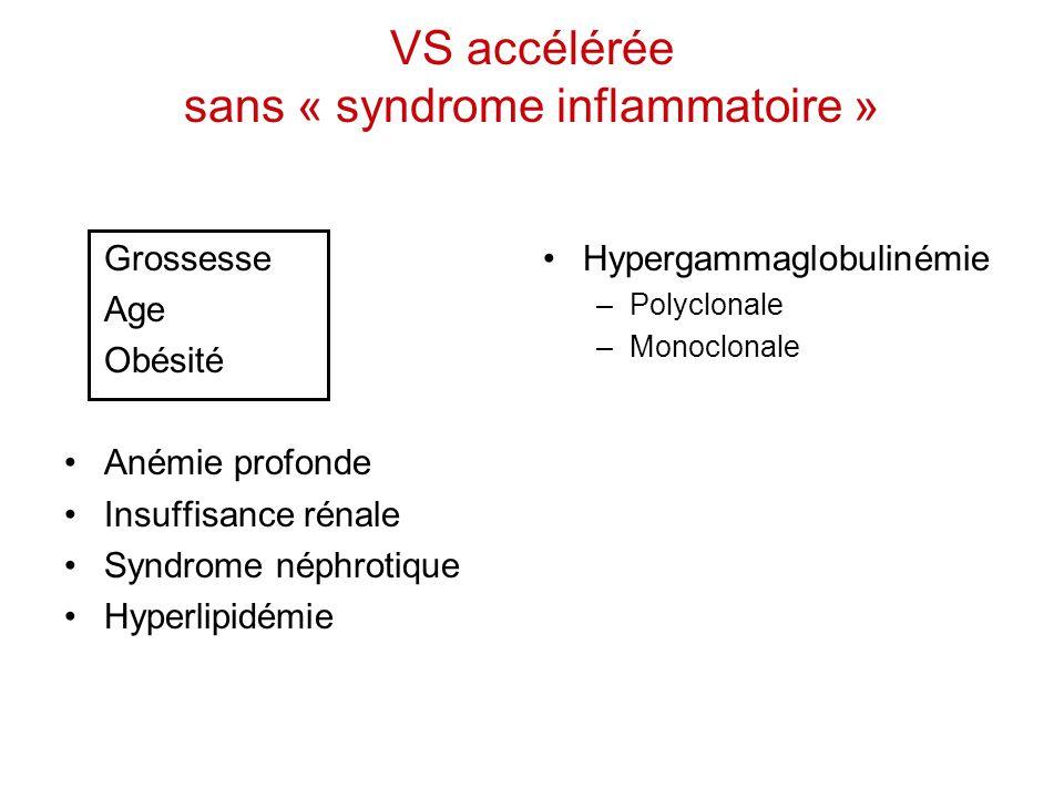 VS accélérée sans « syndrome inflammatoire » Hypergammaglobulinémie –Polyclonale –Monoclonale Grossesse Age Obésité Anémie profonde Insuffisance rénal