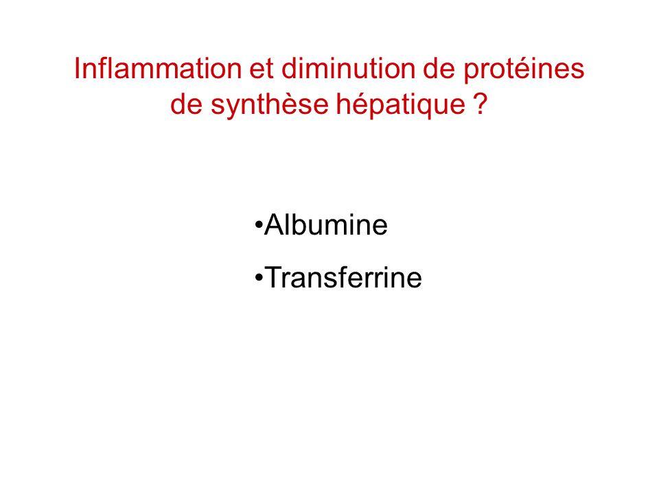 Inflammation et diminution de protéines de synthèse hépatique ? Albumine Transferrine